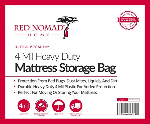 2 Pack Red Nomad Mattress Bag For Moving and Storage, Queen - Two Durable Plastic Mattress Storage Covers to Protect Mattresses Or Other Furniture When Moving Or In Storage - Furniture Covers Moving