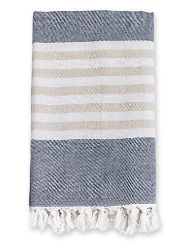 Infant Turtle Towels - Lulujo Baby Turkish Towel, Navy and Oatmeal