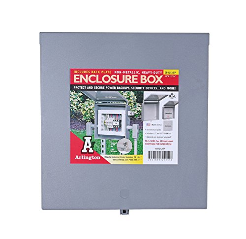 - Arlington Industries EB1212BP-1  Electronic Equipment Enclosure Box with Back plate, 12 x 12 x 4-Inch, Non-Metallic, 1-Pack