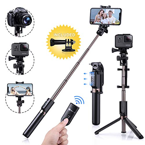 Lightweight Heavy Duty Aluminum All-in-One 51 Extendable Cell Phone Tripod Stand Camera Selfie Stick with Wireless Remote Compatible for iPhone Samsung Android Phones Selfie Stick Tripod