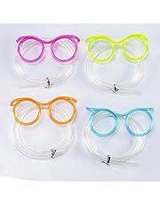 BESTOYARD Funny Soft Glasses Straw Unique Flexible Drinking Tube Kids Party Accessories (Random Color)