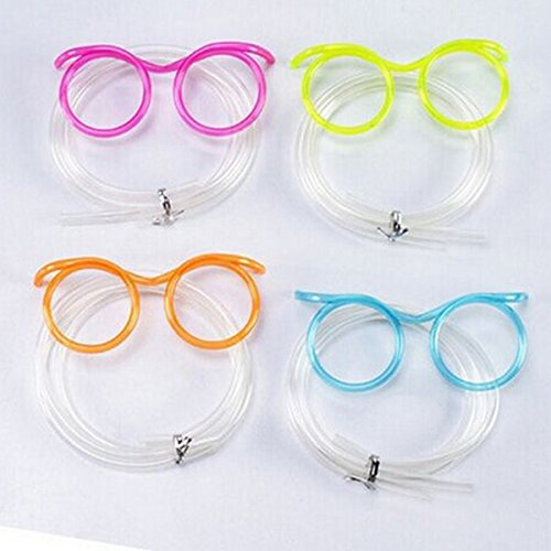 BESTOYARD Funny Soft Glasses Straw Unique Flexible Drinking Tube Kids Party Accessories (Random Color) ()