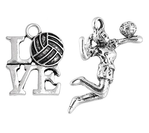 Volleyball Charms 40 Pack, Spiking Girl and Love (20 of Each) - School Team Spirit or -