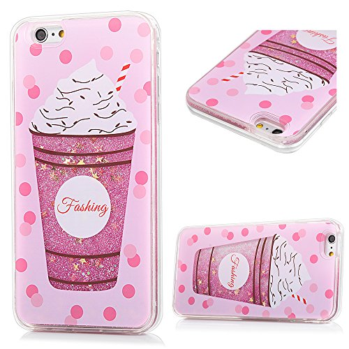 iPhone 6 Plus Case, iPhone 6S Plus Case, Pink Clear Quicksand Soft TPU Frame Hard Plastic Back Lovely Cute Luxury Bling Glitter Sparkle Liquid Protective Cover for iPhone 6/6S Plus, Ice Cream Drink