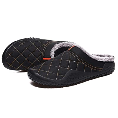 Waterproof Warm Fuzzy Mens Slippers, Indoor Outdoor Anti-Skid Winter Soft Comfy Slippers, Cover Heel Faux Fur Plush Lining Slip on House Shoes Black | Slippers