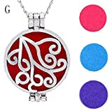 FEDULK Vintage Pendant for Women Hollow Essential Oil Diffuser Necklace and Pad Fragrance Classic Girls Jewelry(G)