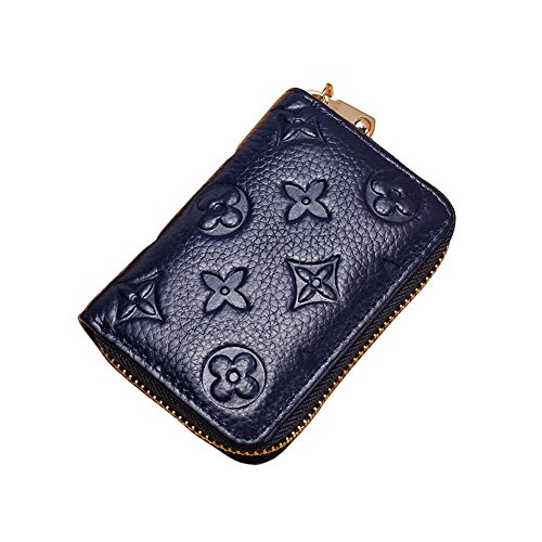 Women RFID Blocking Credit Card Holder Wallet Leather Multi Zipper Purse (blue)