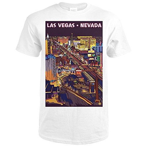 Lantern Press LAS Vegas, Nevada - Strip at Night (Premium White T-Shirt - At Caesars Vegas Shops Las