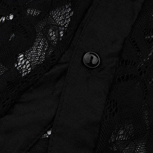 Shirt Prospettiva T Collo Casual Camicie V Tops Size Plus Maniche Lunghe Femminile Pullover Elegante Felpa Donna Nero Camicette ABCone Autunno Lace w8qxPvpw