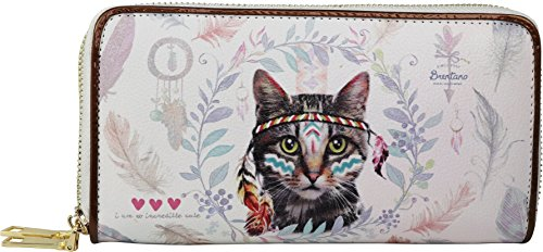 B BRENTANO Vegan Cute Animal Graphic Wallet Clutch with Removable Strap (Boho Feline)
