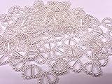 CraftbuddyUS100 White Acrylic Heart Ribbon Slider Buckles for Wedding Invitations, Card Craft