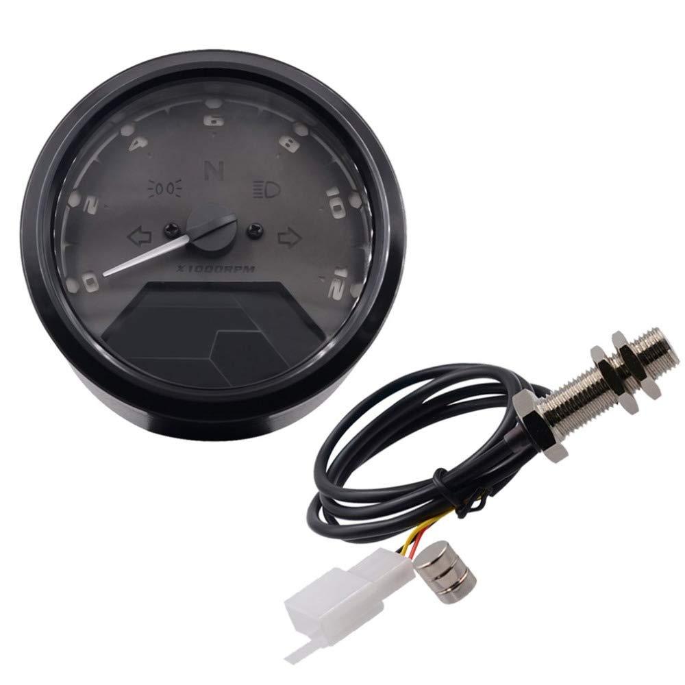 LIDAUTO Moto tachym/ètre Instrument de Modification LCD Compteur kilom/étrique jauge dhuile Tableau de Bord pi/èces dauto