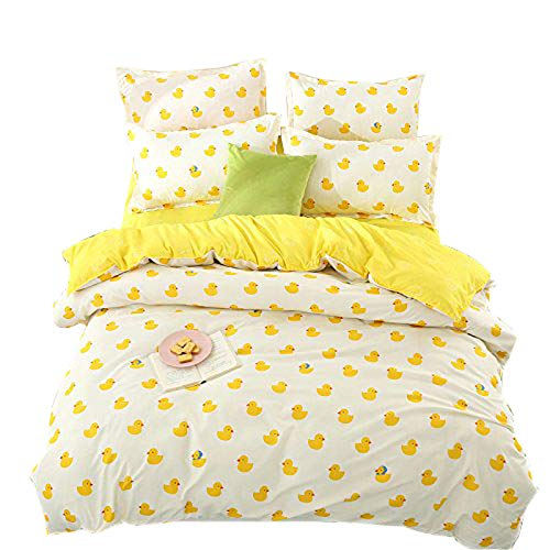 KFZ Bed SET (Twin Full Queen King size) [4 piece: duvet cover, Flat sheet, 2 pillow cases] No comforter KSN Plaid Seagull Duck Leopard design for Girls Kid Sheets Set(Baby Duck, Yellow, Twin, 59