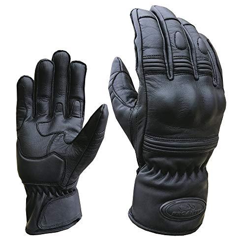 PROANTI Motorradhandschuhe Leder kurz Motorrad Chopper Handschuhe – Gr. M