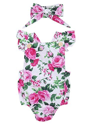- Newborn Kids Baby Girls Clothes Floral Jumpsuit Romper Playsuit + Headband Outfits (0-6 Months, Pink)