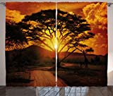 Ambesonne Sunset Curtains, Majestic African Tree with Horizon Background Mystic Nature Dramatic Landscape, Living Room Bedroom Window Drapes 2 Panel Set, 108W X 84L Inches, Orange Black For Sale