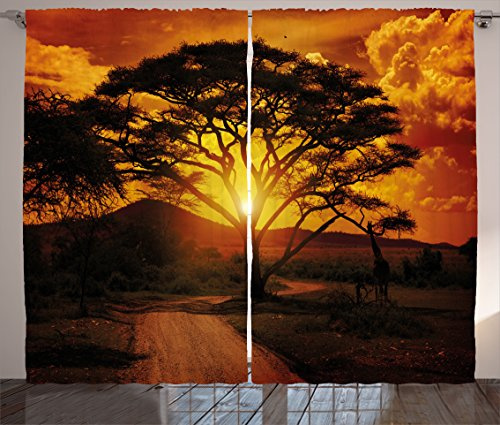 Ambesonne Sunset Curtains, Majestic African Tree with Horizon Background Mystic Nature Dramatic Landscape, Living Room Bedroom Window Drapes 2 Panel Set, 108W X 63L Inches, Orange Black