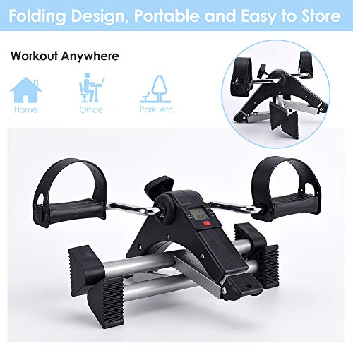 SYNTEAM Foldable Pedal Exerciser with LCD monitor bike exercise machine for Seniors-Fully Assembled, No Tools Required(Black) by Synteam (Image #2)