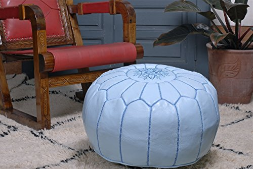 Moroccan Leather Pouf Ottoman Footstool Cover, Light Blue, Handmade with Pure Quality Goat's Leather.