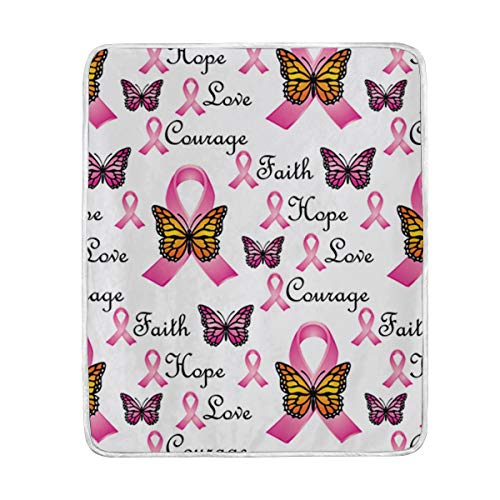 IceLuckyU Faith Pink Ribbons Butterfly Soft Blanket Warm Throw Blankets for The Bed Sofa Lightweight 60