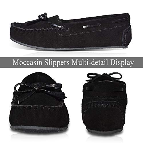 Moccasins Loafer Driving Outdoor LA Black Girl Casual Women's Real Leather PLAGE Shoes Sw787zxq0