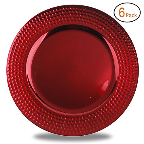 FANTASTIC :)  Round 13 Inch Plastic Charger Plates with Metallic Finish (6, Hammer Edge Red)