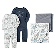 Carters Coveralls and Swaddle Blankets 4-Piece Set (3 Months)