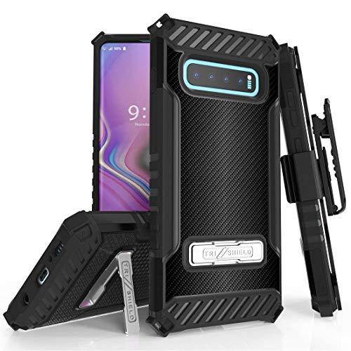 BC Tri Shield Compatible with Samsung Galaxy S10+ Plus Case Military Grade MIL-STD 810G-516.6 Cover with Belt Clip Holster - Dark Carbon Fiber Case Carbon Fiber Belt Clip