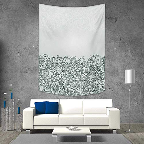 (smallbeefly Henna Tapestry Wall Hanging 3D Printing South Asian Body Paint Design Floral Arrangement Various Wildflowers Leaves Beach Throw Blanket 57W x 74L INCH Green White)