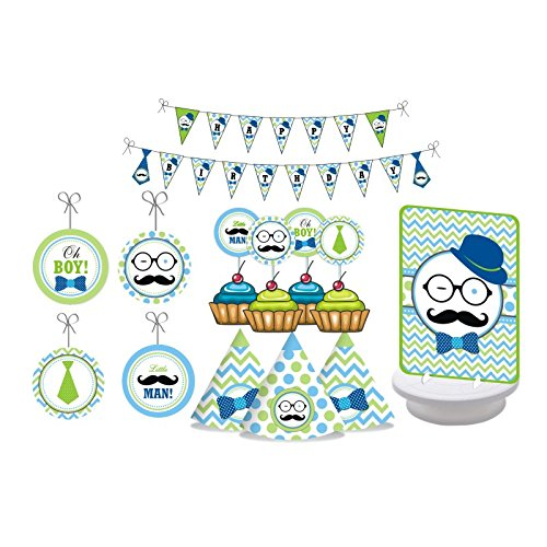 Little Man Mustache Party. Blue and Green Moustache Party. Little Man Birthday Party Decorations for Boys. Includes Party Hats, Centerpieces, Bunting Banner, Danglers and Cupcake (Little Man Decorations)