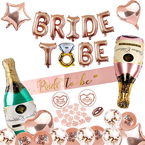 (Bachelorette Party Decorations Kit - Bride to BE Foil Balloon and Sash, Bride Sticker, Champagne Bottle, Heart, Star Foil Balloon, Confetti, Latex Balloon, Rose Gold Ribbon for Bridal Shower Supplies)