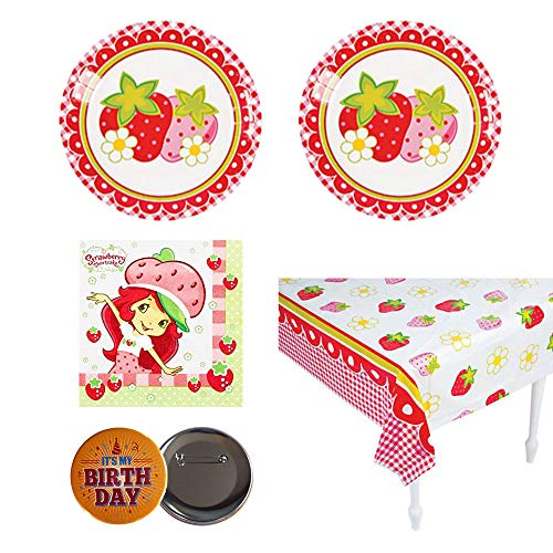 RazzleDazzleCelebrations Strawberry Theme Birthday Party Supplies - 16 Guests - Small Plates, Napkins, tablecover, Button for $<!--$29.87-->