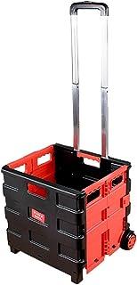 Fktrolley Panier d'achat Chariot à achats de Chariot de Tige d'alliage d'aluminium 26L, Stockage escamotable de glissière sur des Roues, Rouge, pour Faire des achats de Mode de Pique-Nique