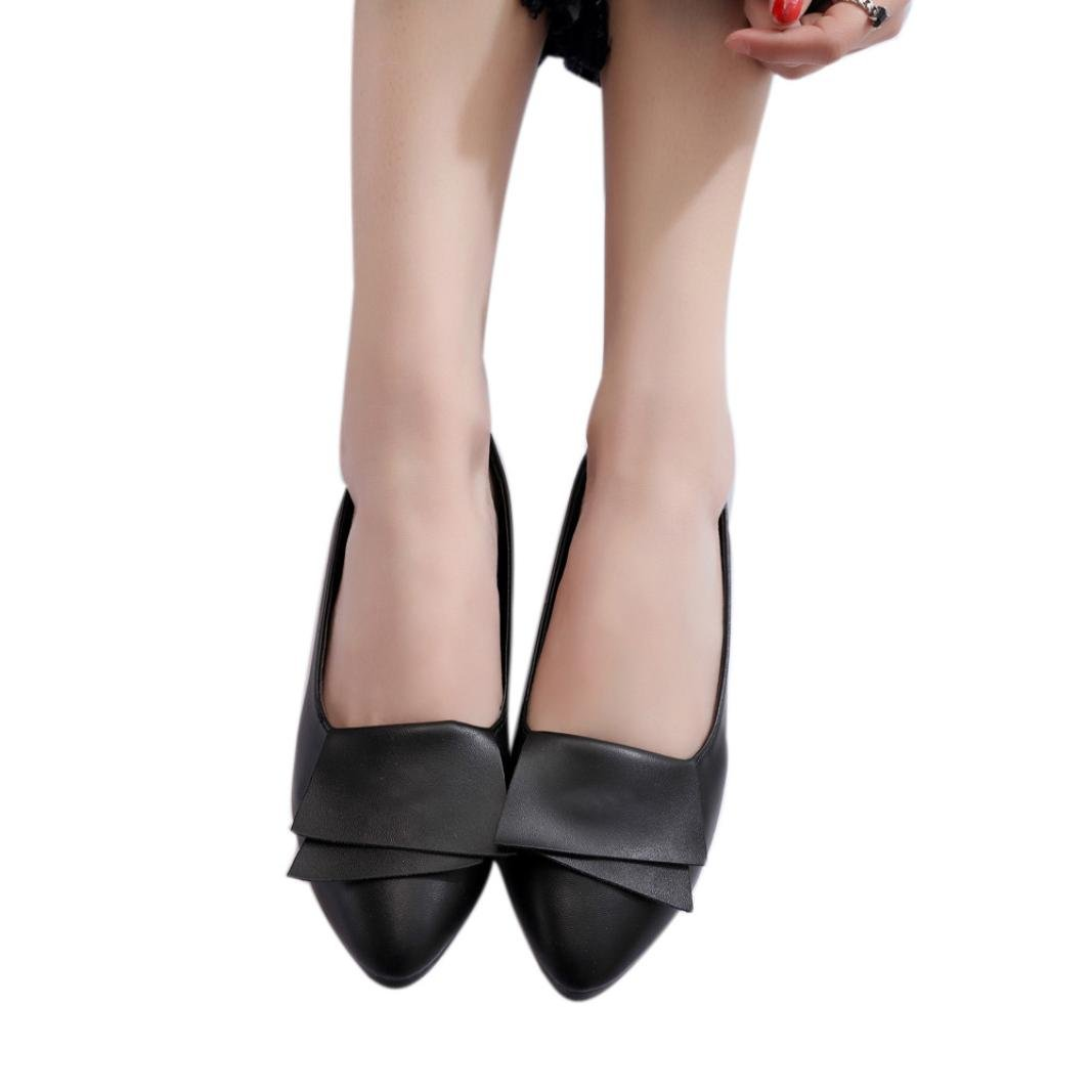 Office Shoes, AgrinTol Women Summer Pumps Wedding Office Pointed Shoes (40, Black)