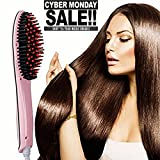 Cheap Hair Straightener Brush Set Curly Natural Hair Straightener Anion Hair Care Straightening Irons Detangling Hair Brush Pink
