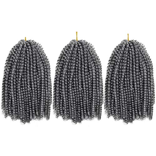 Spring Twist Crochet Hair Braids Ombre Color Synthetic Curly Braiding Hair Extension (8inch #51) ()