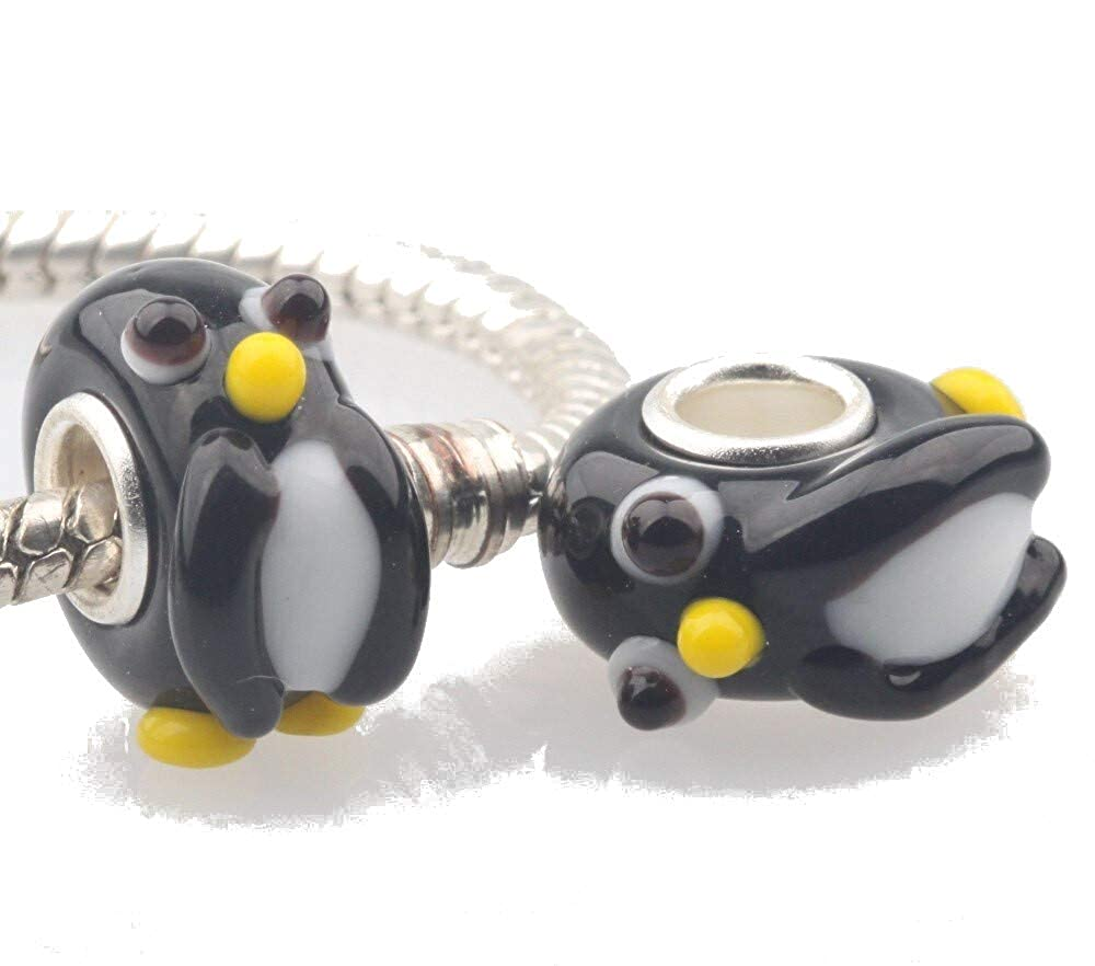 EVESCITY 925 Silver 3D Animals Cute Baby Penguin Black White Murano Glass Beads Compatible with Charm Bracelets /♥ Cute Jewelry Gifts for Her /♥