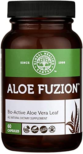Global Healing Center Aloe Fuzion Bio-Active Aloe Vera Leaf Supplement 200x Concentrate Formula Made from Organic Aloe with Highest Concentration of Acemannan Aloin-Free 60 Capsules