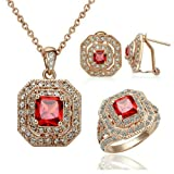Yoursfs 18K Rose Gold Plated Simulate Diamond Vintage Ruby Necklace Ring and Earring Sets (6)