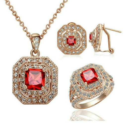 [Yoursfs Vintage Bridal Party Jewelry Sets 18k Rose Gold Plated Women Jewelry Ruby Necklace & Rings & Earrings] (Red Indian Princess Costume)