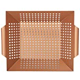 MA Brothers' Grill Basket - Large Portable BBQ Grilling Outdoor Stainless Steel Camping Copper Cookware - Accessory for Vegetables, Fish, Shrimps - Barbeque Veggies on Campfire, Gas or Charcoal Grills