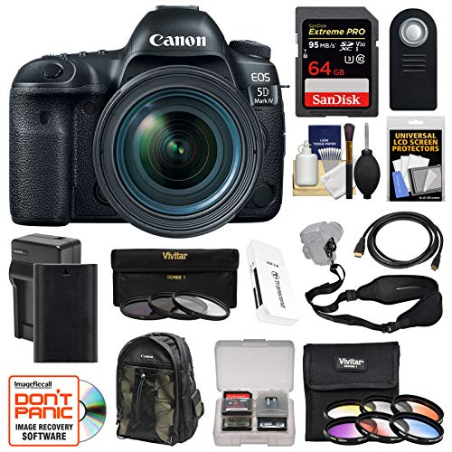 Canon EOS 5D Mark IV 4K Wi-Fi Digital SLR Camera & EF 24-70mm f/4L is USM Lens + 64GB SD Card + Battery & Charger + Backpack + 9 Filters + Strap Kit For Sale