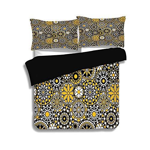 LONSANT Black Duvet Cover Set Queen Size,Yellow Mandala,Moroccan Mosaic Style Artwork Geometric Details Dots Squares Circles,Yellow Black White,Decorative 3 Pcs Fashion Bedding Set