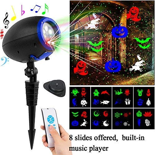 Slashome Laser Projector Light, Waterproof 8 Dynamic Slides Spotlight Led Music Projector with Remote Indoor/Outdoor for Halloween Christmas Birthdays Parties and Holidays