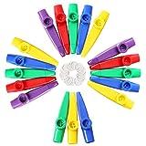 LovesTown Kids Kazoos, 18 Pcs Plastic Kazoo with 20 Pcs Kazoo Flute Diaphragms Kazoos Musical Instruments for Gift Prize and Party Favors