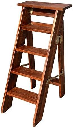 Escalera Doméstica Madera Las Escaleras De Tijera Escalera De Madera del Taburete Plegable Multifunción 5 Pasos Gruesa Junta De Madera Inicio Library (150 Kg De Capacidad) (Brown) Plegables Pasos: Amazon.es: Hogar