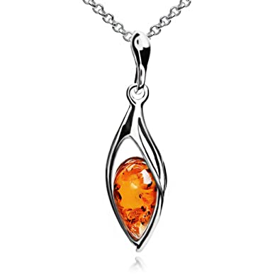 Multicolor Amber Sterling Silver Marquise Pendant Necklace Chain 46 cm 0T9O2TJ