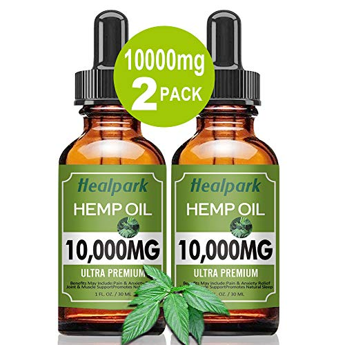 (2 Pack 10000mg) Hemp Oil for Relief Pain Stress – Natural Organic Hemp Seed Extract Hemp Drops Rich in Vitamin & Omega…