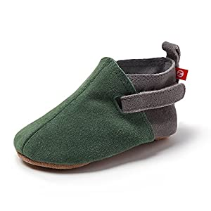 Zutano Unisex-Baby Leather Baby Shoes 18M (12-18 Months), Green/Grey Suede