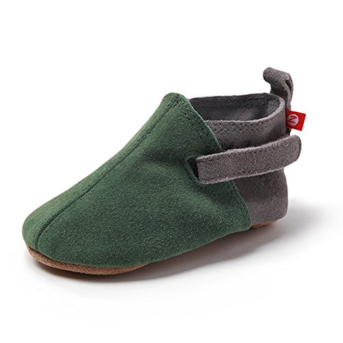 (Zutano Unisex-Baby Leather Baby Shoes 12M (6-12 Months), Green/Grey Suede)